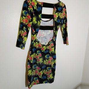 Multicolor floral open back tight dress